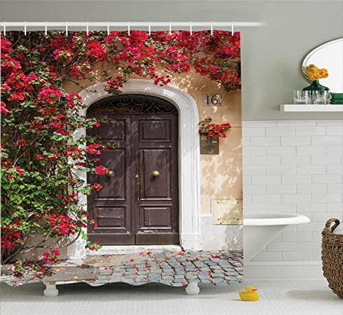 Ambesonne Wanderlust Decor Shower Curtain Set, Old Wooden Door Surrounded by Flowers European Style Medieval Entrance Italy Artful Print, Bathroom Accessories, 84 Inches Extralong, Multi (Curtain Flower Door)