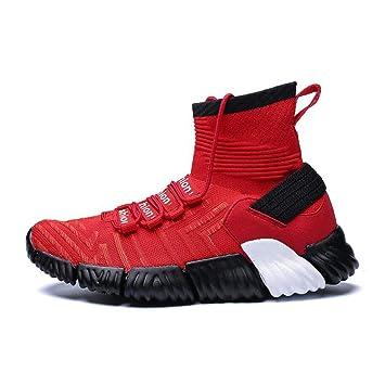 Xxoshoe Zapatos de otoño e Invierno Light Flying Woven para Hombre Zapatos de Calcetines Altos Ocasionales