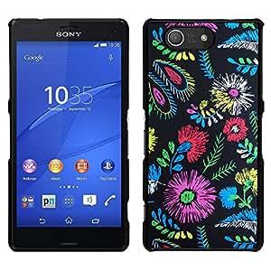 // PHONE CASE GIFT // Duro Estuche protector PC Cáscara Plástico Carcasa Funda Hard Protective Case for Sony Xperia Z3 Compact / Colors Fabric Fashion Clothes Flowers /