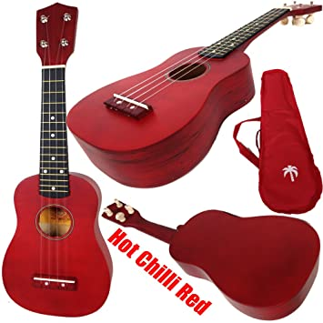 Hot Chilli Soprano Ukulele In Red Red With Picks Bag Instructions