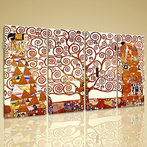 Gustav Klimt Abstract Canvas - Extra Large HD Canvas Print Gallery Wrapped The Tree Of Life Klimt Gustav Framed, Oversized Abstract Wall Art, Living Room, Fallow