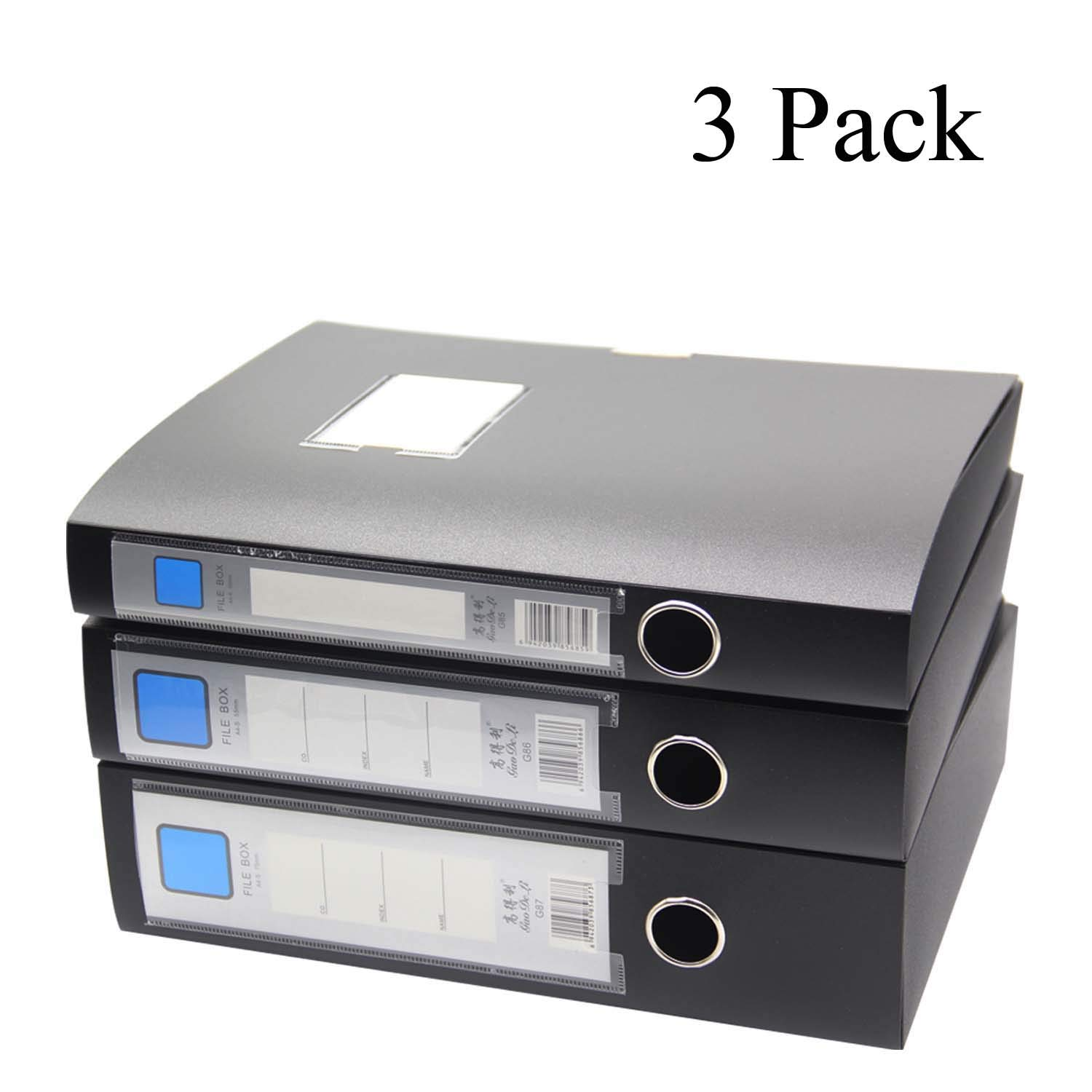 H&W 3 Pack, A4 Storage Archives Cases File Boxes Plastic with Lid, Box File, Height 35 55 75mm,Black (WG3-Z3)