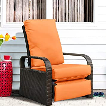 ART TO REAL Automatic Adjustable Patio Recliner Chair Relaxing Sofa Outdoor  Wicker Armchair Furniture Aluminum Frame
