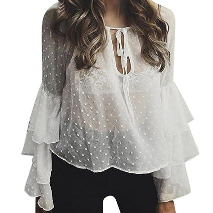 f6f2f89fca9944 Amazon.com: Hemlock Chiffon Top, Women Lace Up Long Ruffle Sleeve Blouse  Shirt (XL, White): Toys & Games