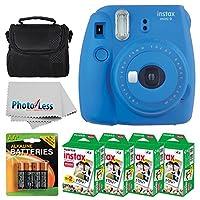 Fujifilm instax mini 9 Cámara para película instantánea (azul cobalto) + Fujifilm Instax Mini Twin Pack Instant Film (80 disparos) + Estuche para cámara + Baterías AA + Paquete de accesorios -