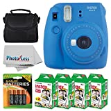 Fujifilm instax mini 9 Instant Film Camera (Cobalt Blue) + Fujifilm Instax Mini Twin Pack Instant Film (80 Shots) + Camera Case + AA Batteries + Accessory Bundle - International Version (No Warranty)
