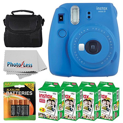 Fujifilm instax mini 9 Instant Film Camera (Cobalt Blue) + Fujifilm Instax Mini Twin Pack Instant Film (80 Shots) + Camera Case + AA Batteries + Accessory Bundle - International Version (No Warranty) by PHOTO4LESS