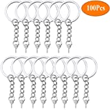 HAUTOCO 100Pcs Keychain Rings with Chain, Open Jump Rings and Screw Eye Pins for Crafts Charm Jewelry Making(1 Inch/25mm)