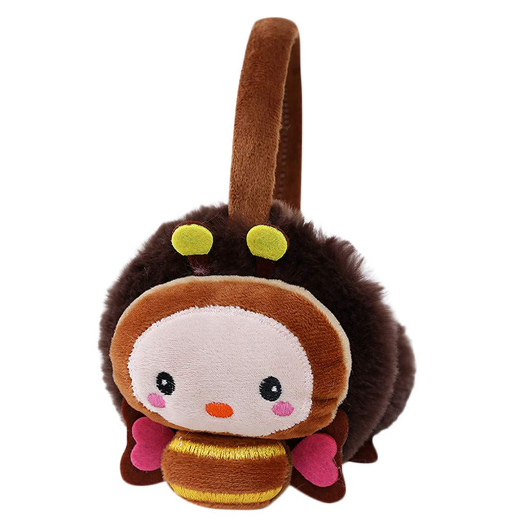 Lightning Deals Earmuffs, ZYooh Young Girls Kids Cartoon Bee Ears Design Windproof Warm Adjustable Ear Warmers (Coffee)