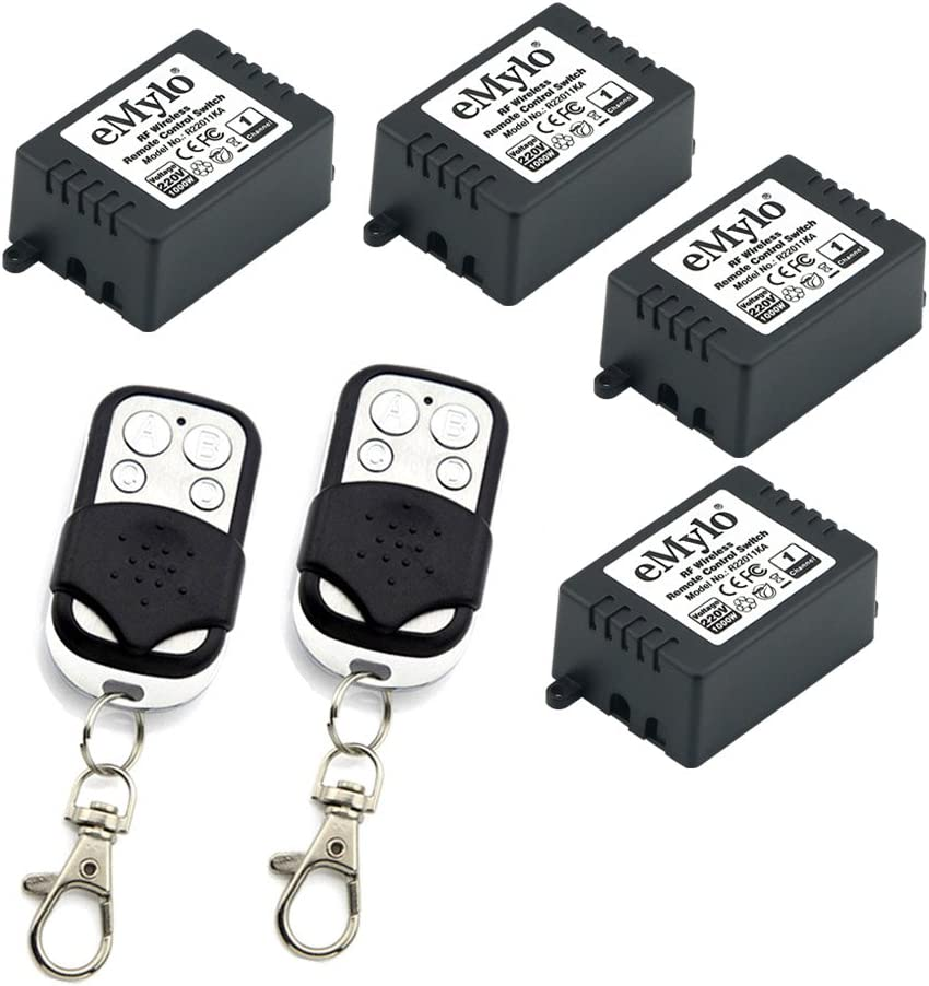 eMylo AC220V 4x 1Channel 1000W RF inalámbrico control remoto conmutador receptor con transmisor