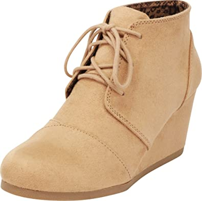 ae8a0e48a8fd1 Cambridge Select Women's Lace Up Wedge Heel Ankle Bootie (6 B(M) US