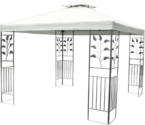 Carpa de jardín con lona impermeable, de metal negro, con textura de Hojas, 3 x 3 metros, lona blanca y doble Tejado