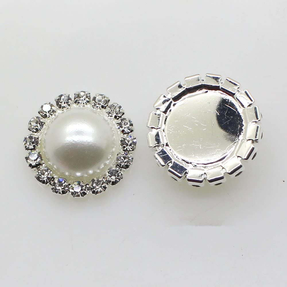 2 white peaces 7//8 inch Metal Rhinestone Pearl Buttons