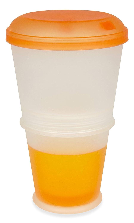 Muesli Tazza 2pezzi, sistema di raffreddamento isolato per latte, yogurt, Dressing, tazza da viaggio per Corn Flakes, Cereals, frutta, insalata, snack, Anti Slittamento Ring, to go rigida, frutta Orange BlueFox