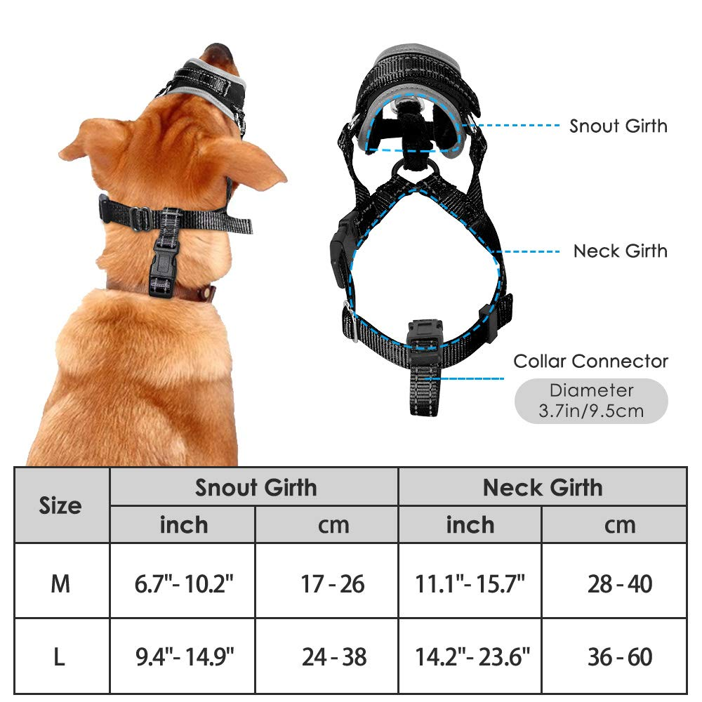 Attach to Collar HomeCHI Dog Muzzle Update More Comfortable Prevent from Biting Barking Chewing Behavior Training Adjustable Soft Reflective Quick Fit Nylon Dog Mouth Cover for Medium Large Dog