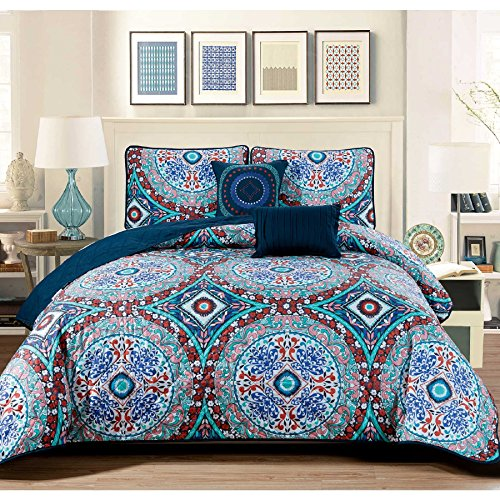 (5 Piece Exotic Floral Medallion Design Quilt Set Queen Size, Printed Nature Lovers Garden Earthy Flower Swirls Bedding, Modern Tribal Wildflower Pattern, Tribal Mandala Emblems Theme, Turquoise, Red)