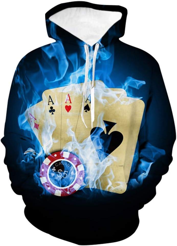 Herren Winter warm Hoodie 3D-Poker-Gag Hooded Sweatshirt gro/ße Tasche,S