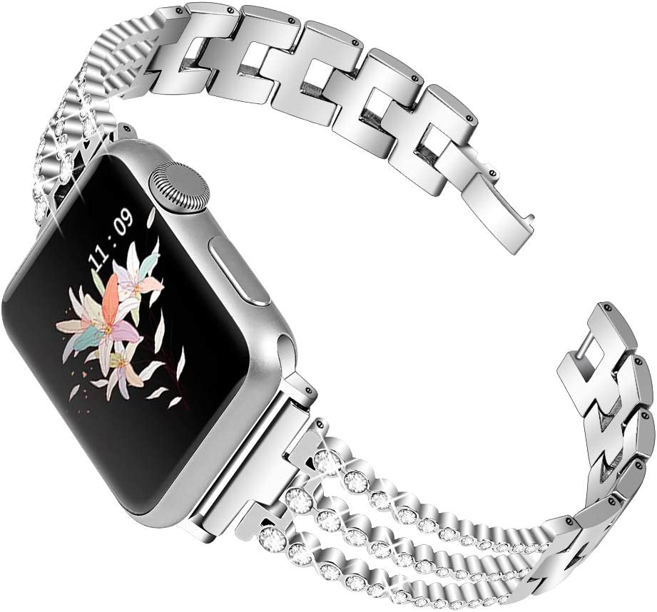 OULUCCI Bling Band Compatible for Apple Watch Band Series 6 SE 5 4 40mm/ iWatch Series 3 2 1 38mm, Wristband Strap Stainless Steel Metal Bangle Bracelet with Tool
