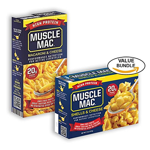 Muscle Mac, 20g of High Protein, Macaroni and Cheese & Shell and Cheese Assortment Pack (Macaroni and Shells, Bundle Pack)