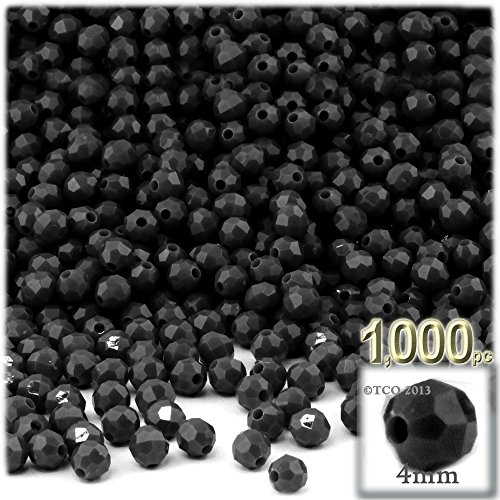 The Crafts Outlet 200-Piece Faceted Plastic Opaque Round Beads, 4mm, Black