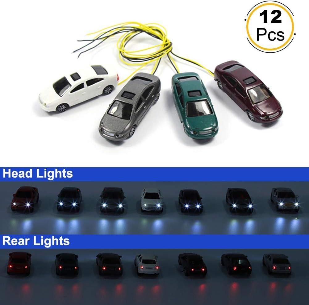 Evemodel 12pcs Head Lighted Model Car 1:87 Train Scenery HO Scale EC100
