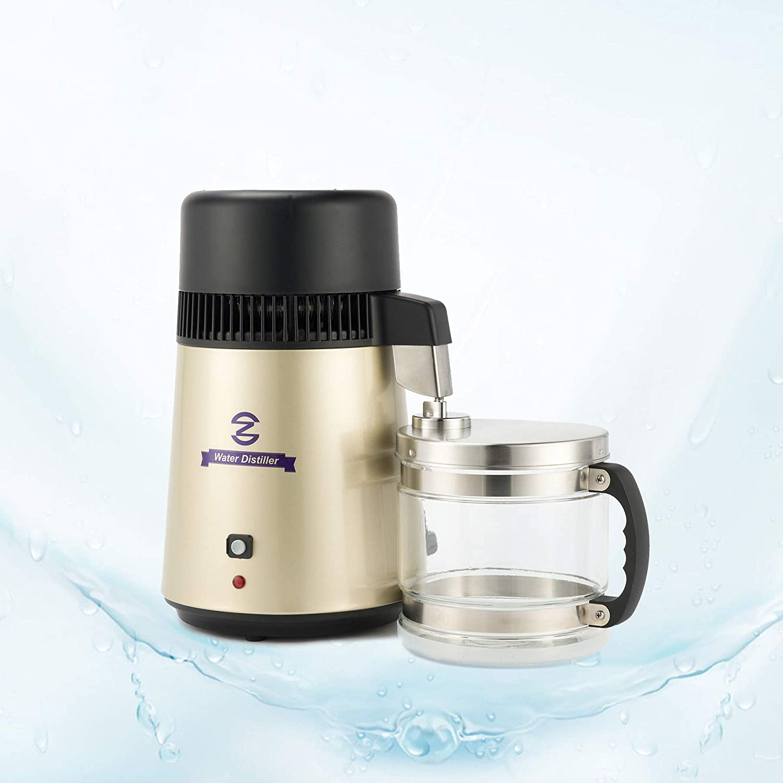 Valens Destilador de Agua 4L Purificador de Agua Domestico 750W Máquina de Agua Destilada con Jarra de Filtro Destilador de Agua Pura con Botella Recolectora (Dorado)