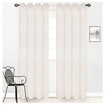 Good HOMTOD Gold Stripe White Sheer Voile Grommet Window Curtain Panel