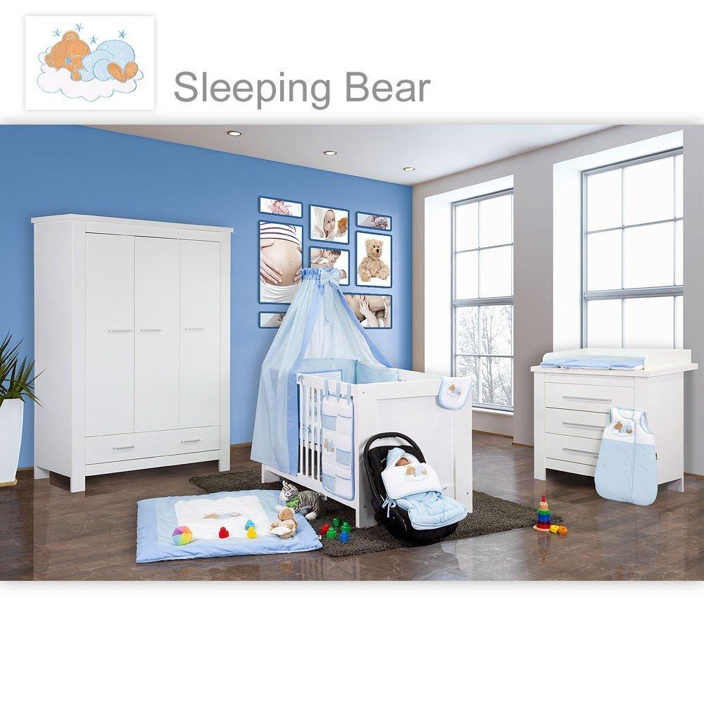 Babyzimmer Enni in weiss 21 tlg. mit 3 türigem Kl. + Textilien Sleeping Bear, Blau