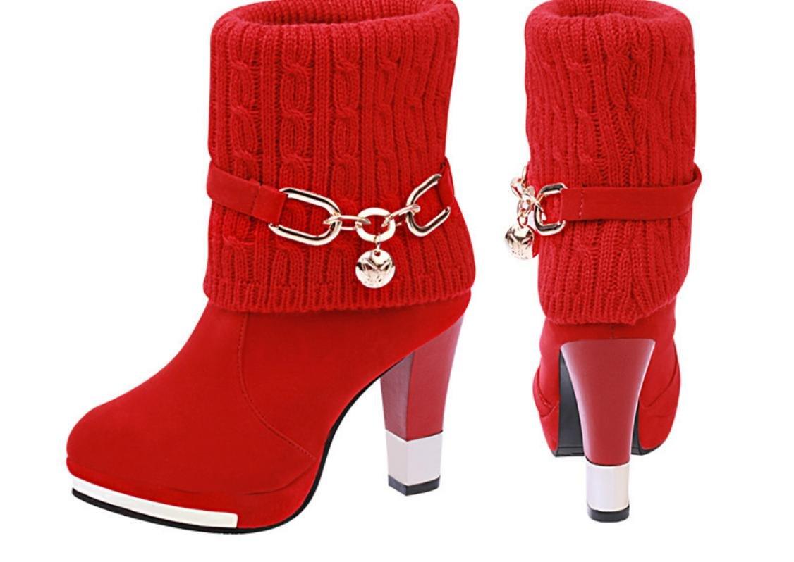 XDGG Die Die Die neuen Damen Stiefel hochhackigen künstlichen PU Wolle Stiefel , rot , 37 a50209