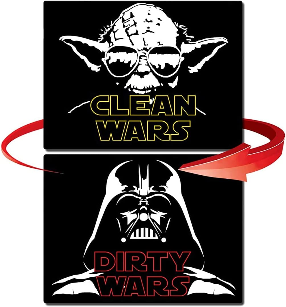 Dishwasher Magnet Clean Dirty Sign Flexible Flip 3x4 inch Flipside Reversible Double Sided Star Wars Yoda Darth Vader Inspired Double Sided Kitchen Dish Indicator (STAR WARS)
