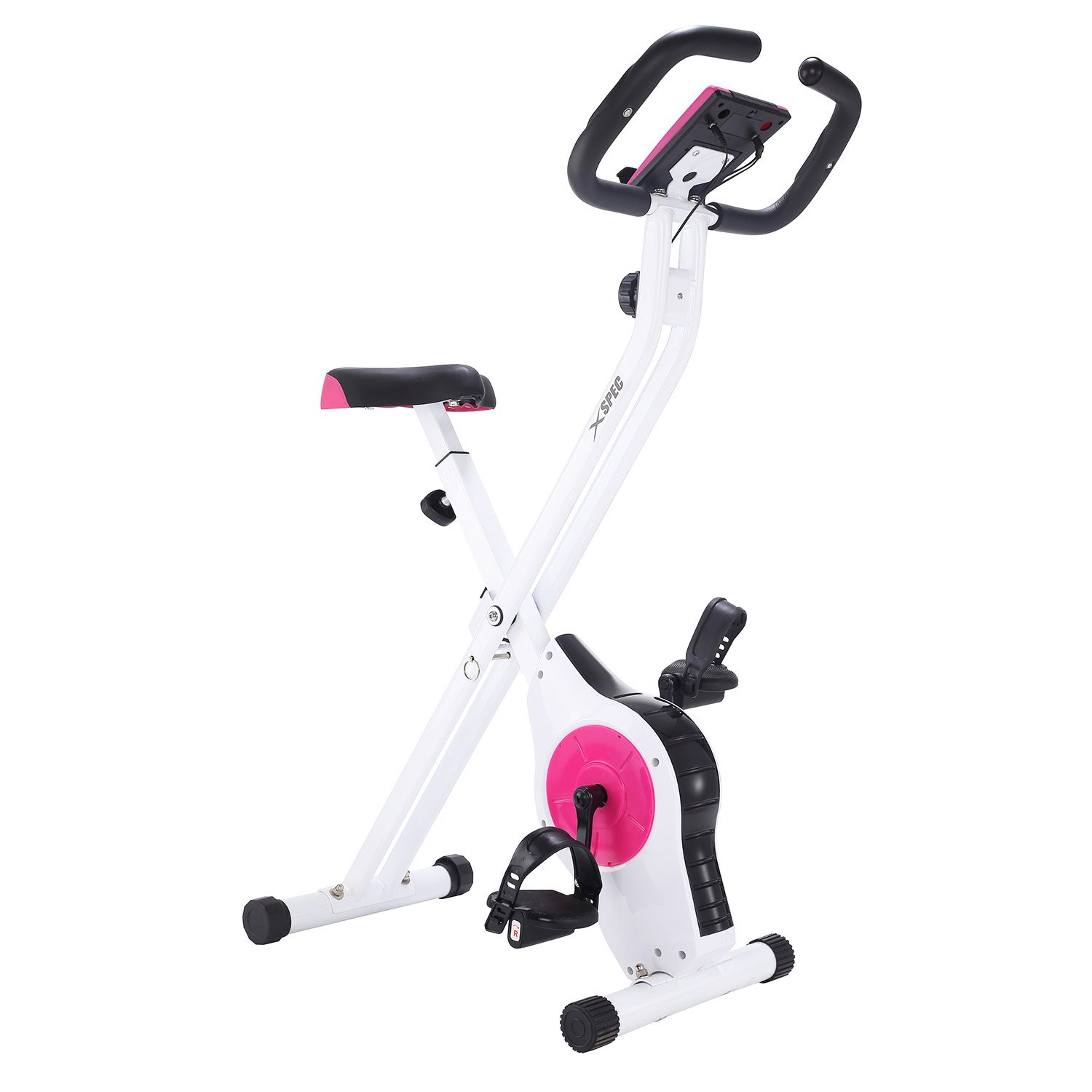Xspec Foldable Stationary Upright Exercise Bike Magnetic Cardio Workout Indoor Cycling, Pink/White, Monitor with Phone/Tablet Holder, Heart Rate Pulse Sensor