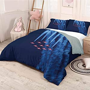 prunushome Airplane Duvet Cover Quilt Set Digital View Canadian Descending Snowbirds Up in The Air Military Flight Image Modern Style Lightweight Durable Dark Blue Red Twin