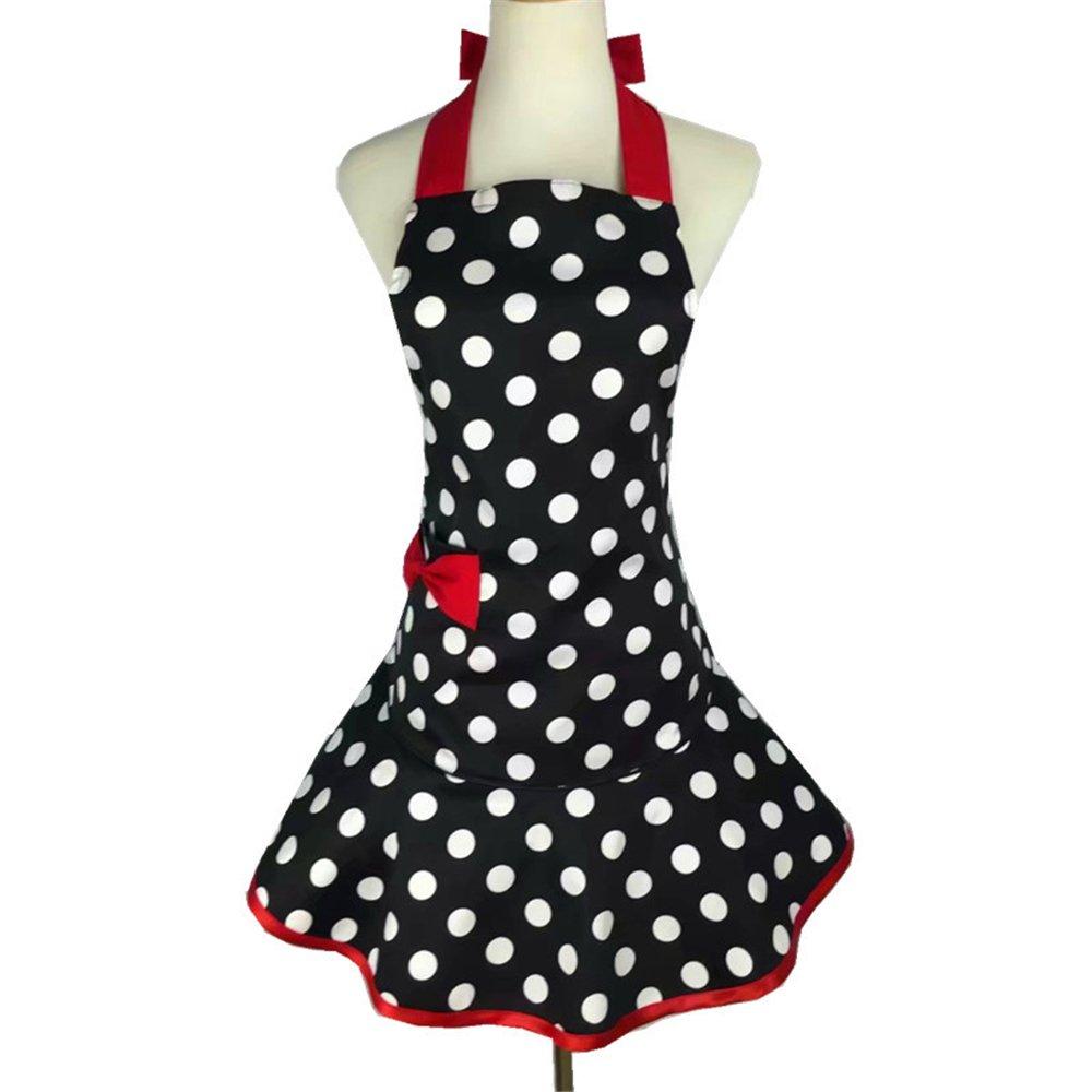 Black White Polka Dot Aprons for Women Girls with Pocket Ruffle Original Apron Retro Apron Kitchen Cooking Christmas