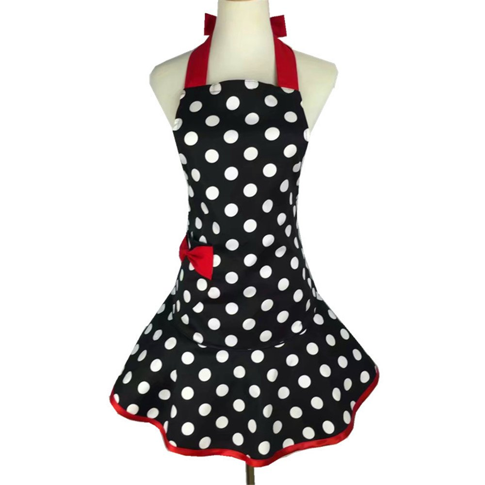 Flirty Aprons for Women Girs with Pocket,Black White Polka Dot Ruffle Original Apron Retro Sexy Apron Kitchen Cooking Christmas