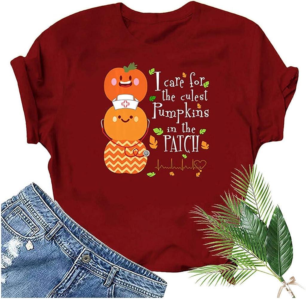 Women 3D Graphic Printed Top Halloween Pumpkin Smiley Funny Short Sleeve Blouse T-Shirt
