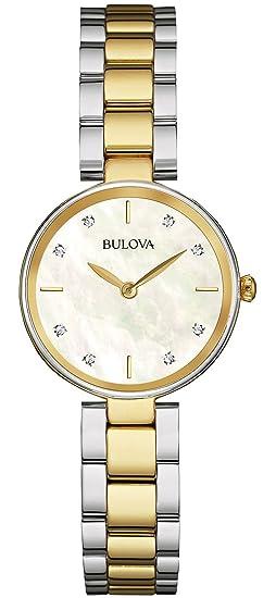 Bulova Diamond - Reloj de Pulsera de Diseño para Mujer - Acero Inoxidable, Dorado