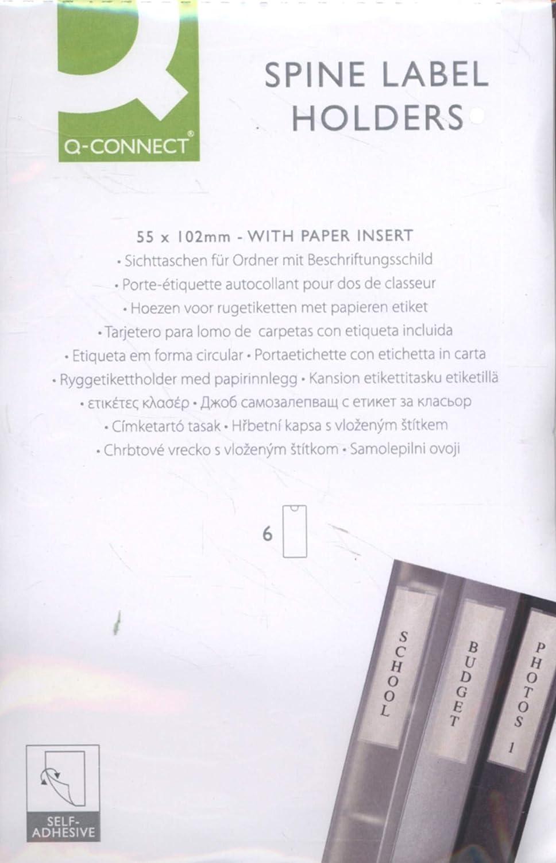 Q-Connect 946174 Porte Etiquette Adh/ésif dos Classeur 55 x 102 mm 6 Unit/és Couleurs Assorties