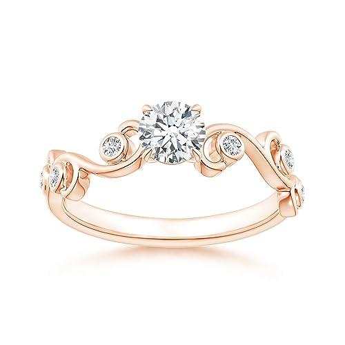 Angara Claw Set Diamond Ivy Scroll Ring yal48