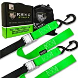 RHINO USA Motorcycle Tie Down Straps (2 Pack) Lab Tested 3,328lb Break Strength, Stainless Cambuckle Tiedown Set with Integrated Soft Loops - Better Than a Ratchet Strap…