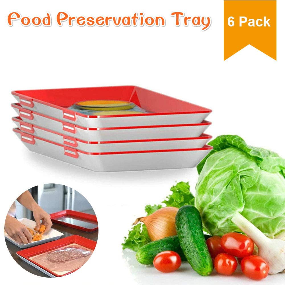 Food Tray Plastic Preservation Tray, Healthy Seal Food Storage Container Kitchen Tools for Vegetable, Fruits, Meat, Fish