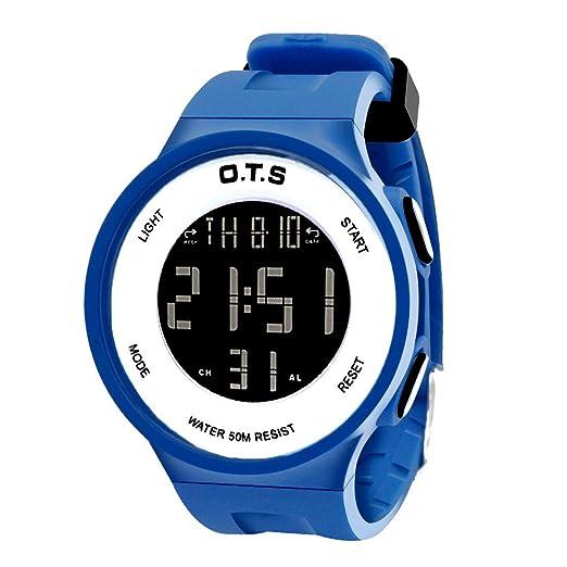 OTS - Niños Reloj Digital Multifuncional Impermeable Regalo Infantil para Niñas Alarma Calentario Cronógrafo Electrónico con Luz - Azul: Amazon.es: Relojes