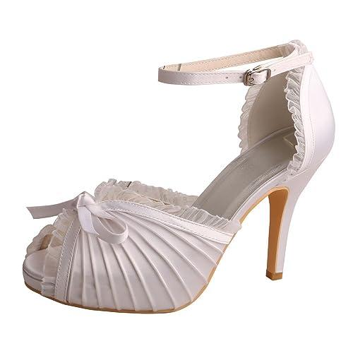 d71eba9fe4f Wedopus MW755 Women s Peep Toe Platform High Heels Satin Evening Prom  Wedding Bridal Pumps Shoes Sandals