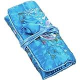 KLOUD City Soft Silk Brocade Peony Floral Print Fabric Jewelry Roll Travel Organizer (Light Blue)