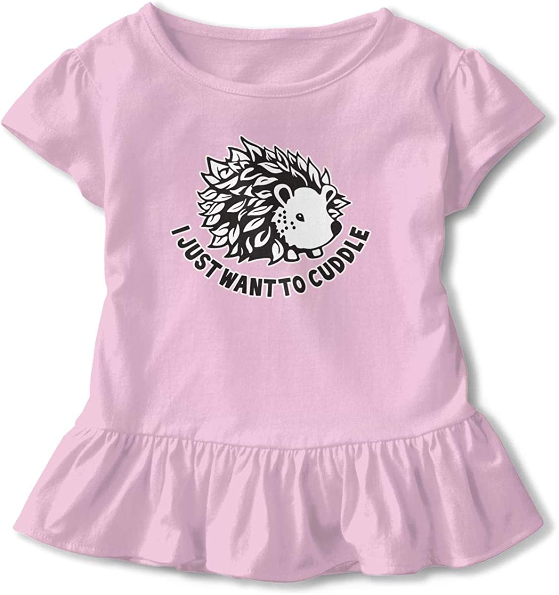 ZP-CCYF I Just Want to Cuddle Toddler Baby Girl Ruffle Short Sleeve T-Shirt Comfortable Cotton T Shirts