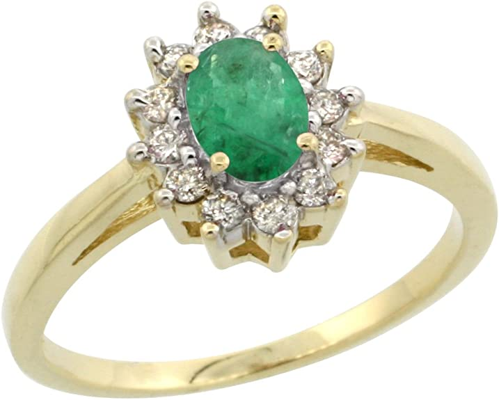 10k Yellow gold Oval Emerald and Diamond Halo Ring