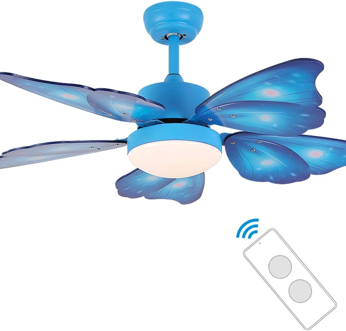 Ventilador de Techo con Luz y Mando a Distancia, 5 Palas, 105Cm de Diámetro, Lampara de Ventilador Para HabitacióN Infantil, 18W Led Plafones de Led Techo 3 Colores Regulables,Azul: Amazon.es: Iluminación