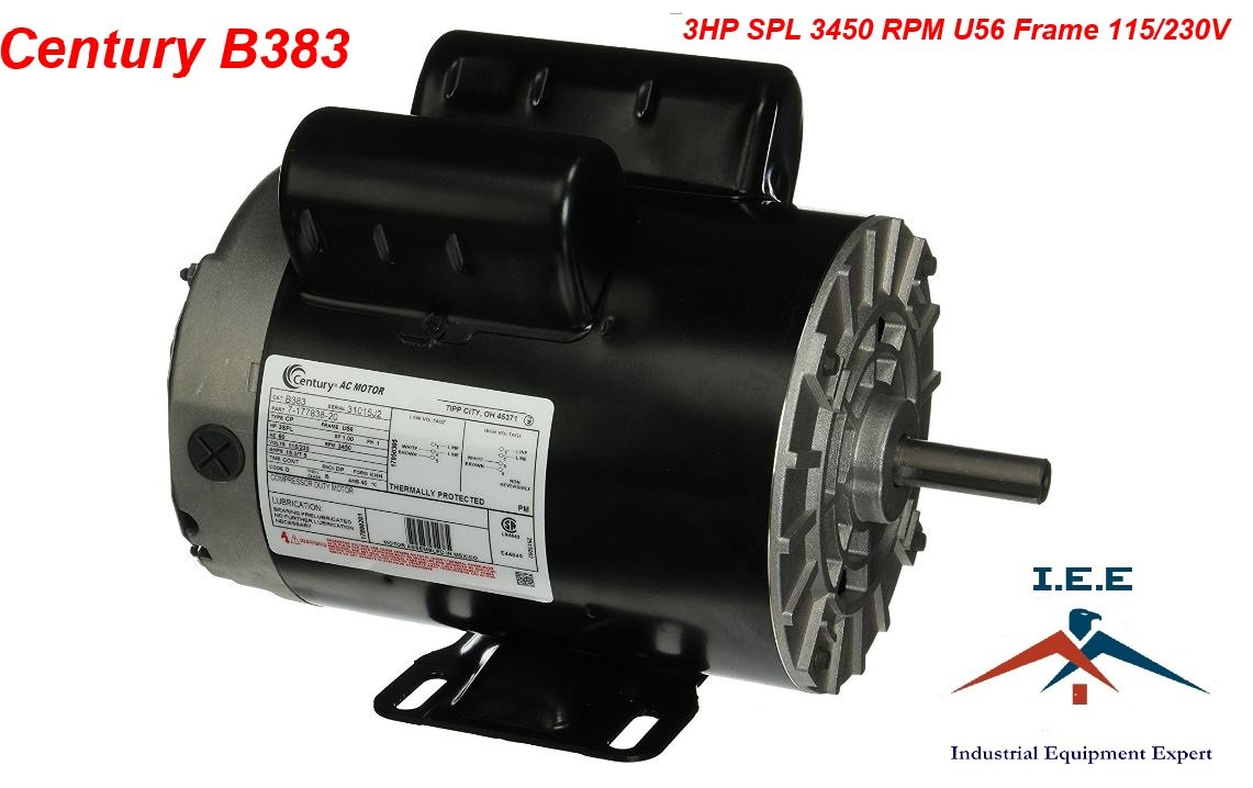 New 3 HP 3450 RPM Air Compressor 60 Hz Electric Motor 115-230 Volts Century B383 - - Amazon.com