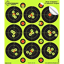 "25 Pack - 3"" ""Stick & Splatter"" Adhesive SPLATTERBURST Shooting Targets - Instantly See Your Shots Burst Bright Fluorescent Yellow Upon Impact - Great for all firearms, rifles, pistols, AirSoft, BB and Pellet guns!"