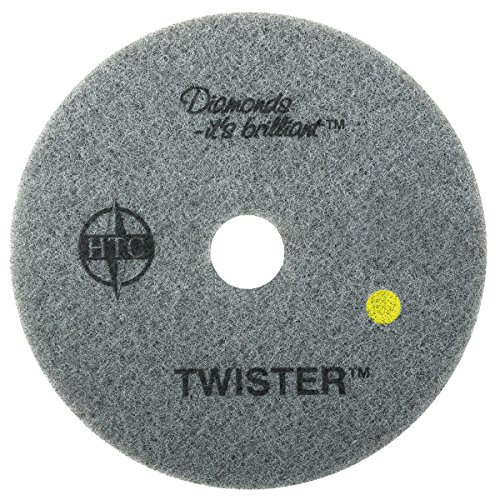 Americo Manufacturing 435412 Twister Yellow 1500 Grit Floor Pad for Step 2 Initial Polishing (2 Pack), 12