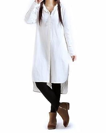1a836e588c708 ZANZEA Women s Stand Collar Buttons Cotton Split Hem Long Top Dress (UK 14
